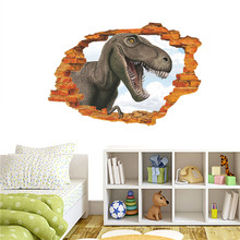 3d Vivid Dinosaur Broken Hole Wall Stickers For Kids Room Bedroom Home Decoration Creative Jurrasic Animal Mural Art Diy Decals цена и фото