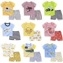 100% Cotton Kids Boys Sets Summer Cartoon Print Short Sleeve O-Neck Cute T-Shirt Tops with Shorts Baby Girls Children Clothes