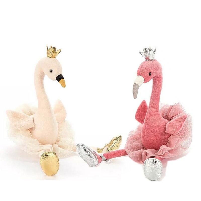 Bonito Cisne & flamingo Brinquedos de Pelúcia com a coroa, Animal Brinquedos de Pelúcia, Brinquedos para Crianças, Brinquedos Do Bebê, decoração Da Sua casa