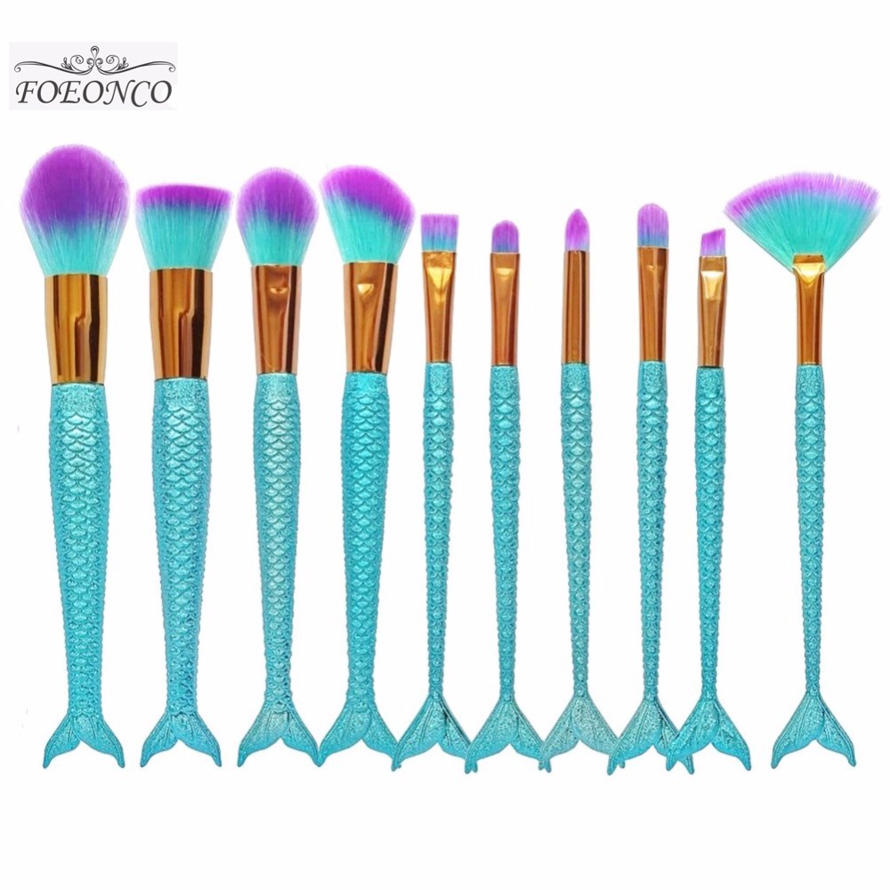 10pcs/set Mermaid Color Make Up Eyebrow Eyeliner Blush Blending Contour Foundation Cosmetic Beauty Makeup Brush Tools 8pcs mermaid color make up brushes eyebrow eyeliner blush blending contour foundation cosmetic beauty makeup fan brush tools kit