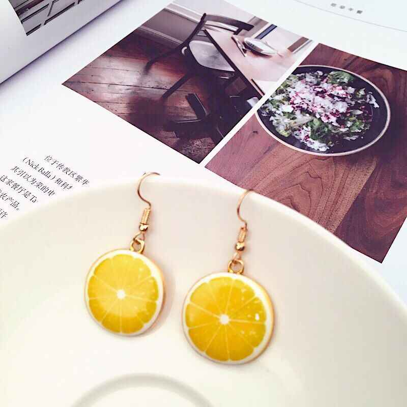 2019 Creative Fashion Resin Pendants Earrings Watermelon Lemon Pineapple Apple Peaches Colored Fruit Earrings Women Jewelry Gift