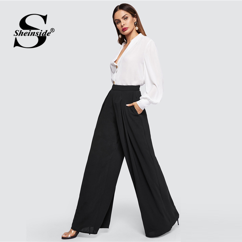 Sheinside Black Zip Back Solid Culottes   Pants   Women Elegant Spring High Waist   Wide     Leg     Pant   2019 Casual Chiffon Solid Loose   Pant