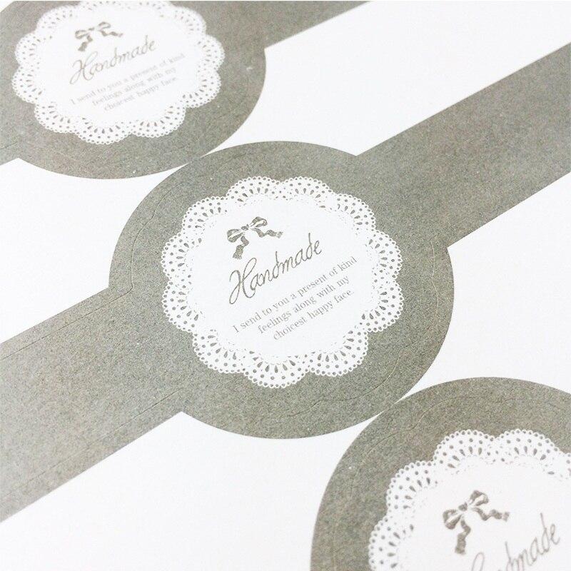 30pcs/lot Long Vintage Elegant Lace Sealing Label Stickers DIY Handmade For Gifts Box Glass Jar Cake Baking Sealing Sticker