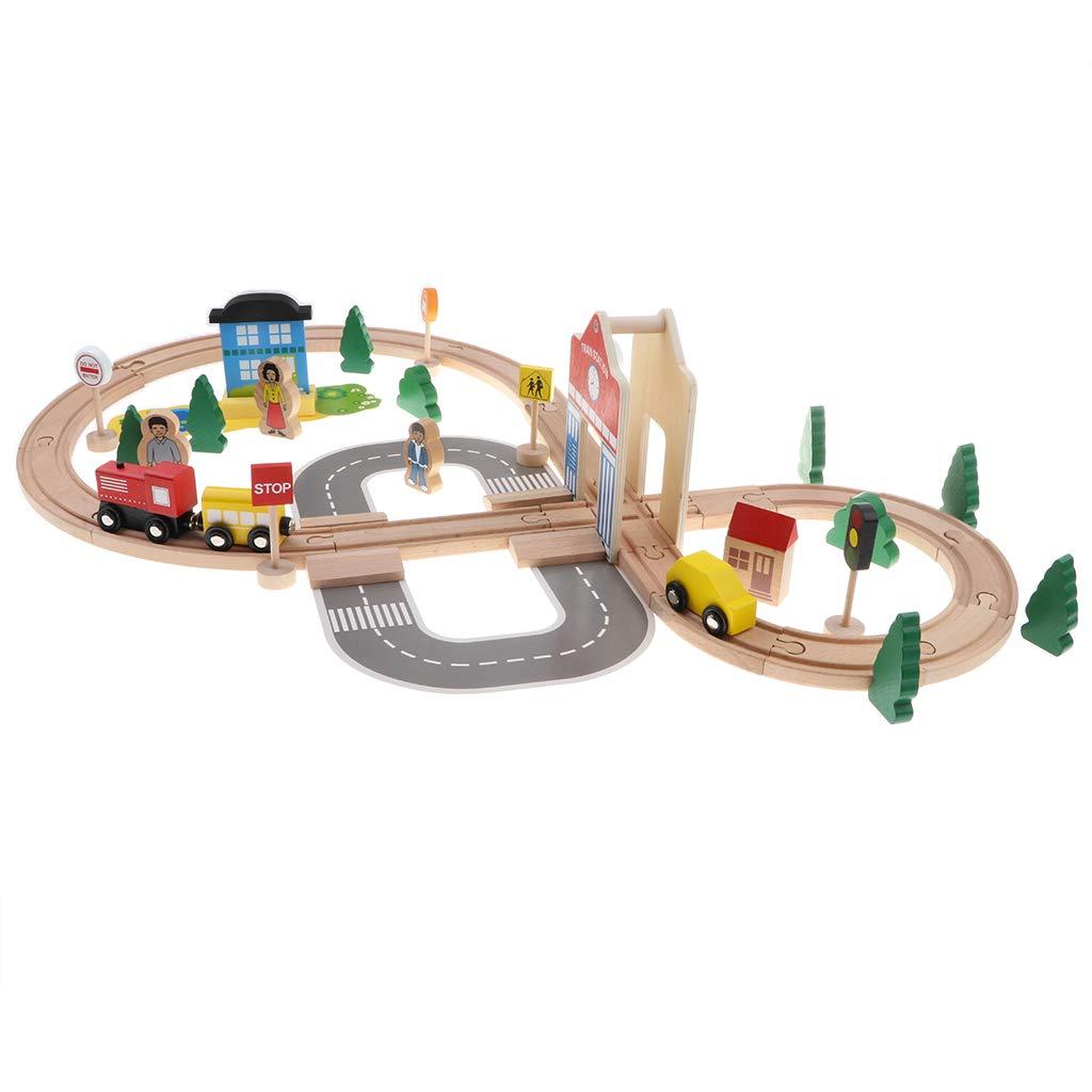 50 pcs bricolage assemblage en bois Train voiture piste panneau main-oeil Coordination jouets éducatifs cadeau d'anniversaire pour enfants enfants en bas âge