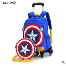 Travel luggage bags for kid Boy's Trolley School backpack wheeled bag for School Trolley bag On wheels School Rolling backpacks недорого