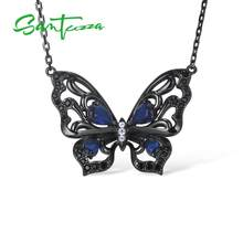 SANTUZZA Silver Necklace For Woman Authentic 925 Sterling Silver Vivid Blue Butterfly Necklace Chain Chic Party Fashion Jewelry(China)