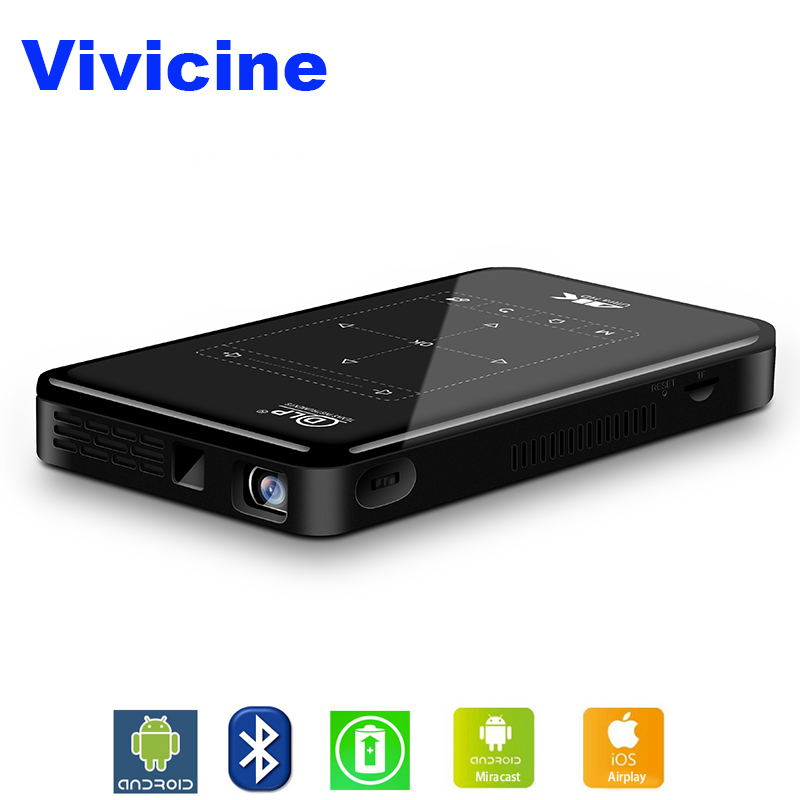 Vivicine 4 k Mini Projecteur Android Bluetooth, 4000 mah batterie, Soutien Miracast Airplay De Poche Mobile Projecteur Vidéo Beamer