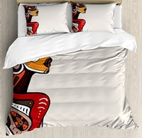 African Duvet Cover Set Profile of African Beauty Totem Ethno Fashion Girl with Mask Tattoos Illustration 4 Piece Bedding Set