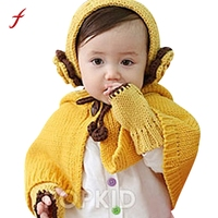 Feitong Baby Cartoon Beanie Hats Baby Girls Hooded Cloak Winter Autumn Gloves Scarf And Hats Sets