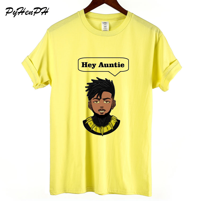 Big Size Clothing Fashion Summer Black Panther T Shirt Women Erik Killmonger Hey Auntie Print Tops Tee Shirt Femme New Arrival