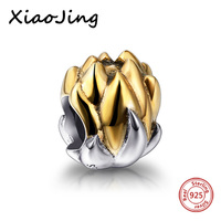 100% 925-sterling-silver beads Gold color Lotus charm beads original European Bracelets DIY jewelry Making for women gift