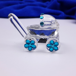 Image 2 - 30PCS/LOT Mini Crystal Baby Carriage Baby Shower Favors Wedding Party Figurines Souvenirs