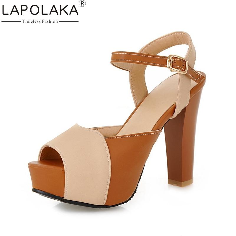 Lapolaka 2018 wholesale dropship large Size 35-43 High Heels Summer Sandal Women Patchwork Platform Party Shoes Women