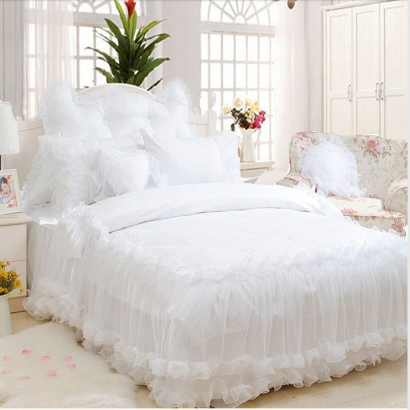 Luxury Snow White Lace bedspread Princess bedding set queen king 4pc Jacquard duvet cover bed linen bedclothes bed skirts cotton
