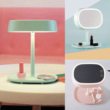 2016 New Fashion Makeup Stand Mirror Rechargable LED Light Desktop Table Bed Lamp Decor Gift