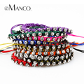eManco 10 Color Tribe Style Mix Match Adjustable Handmade Shamballa Bracelets for Women Rhinestones Brand Fashion Jewelry