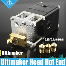 Impresora 3D Ultimaker 2 + UM2 Heaterblock sola Cabeza Extrusora bloque Olsson kit Boquillas 0.25/0.4/0.6/0.8mm HotEnd de 1.75/3mm