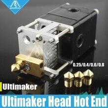 Impresora 3D Ultimaker 2 + UM2 Heaterblock sola Cabeza Extrusora bloque Olsson kit Boquillas 0.25/0.4/0.6/0.8mm HotEnd de 1.75/3mm