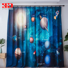 3D Printed Planet Star Blackout Curtains for Living Room Cute Drapes for Boys Room Kid Window Treatment Panel Universe Science cute modern planet star universe space wallpaper for kids room boys nursery room decor