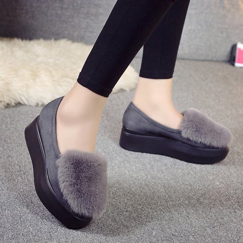COOTELILI Winter Women Shoes Loafers Plus Size Creepers Flat Platform Casual Shoes Slip On Flat Shoes For Female Moccasins  (10)
