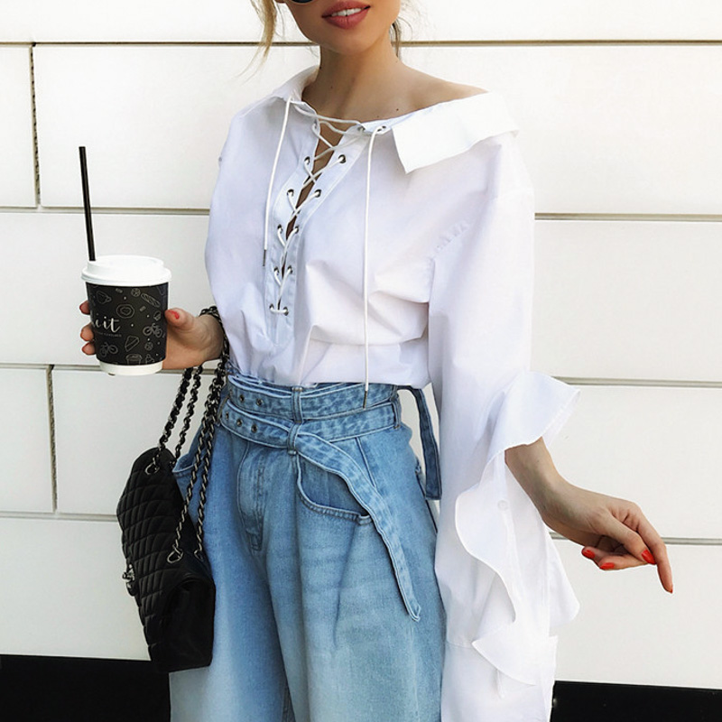 Lace up long ruffle sleeve white women blouse shirt Turndown neck cotton blouses and tops Casual streetwear ladies tops in Blouses amp Shirts from Women 39 s Clothing