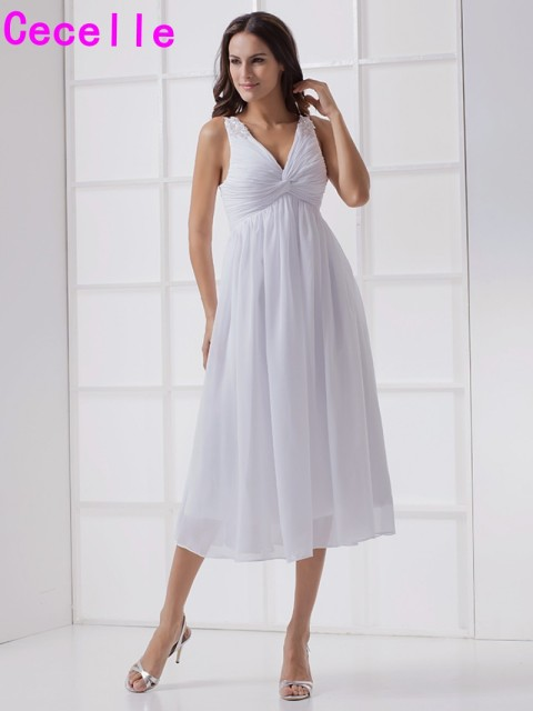 Informal Beach Chiffon Maternity Wedding Dresses 2017 Empire Waist V Neck Short  Casual Bridal Gowns Robe