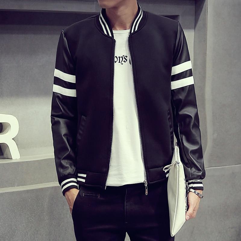 Nice Brand Designs Jacket Men PU Leather Sleeve Patchwork Striped ...