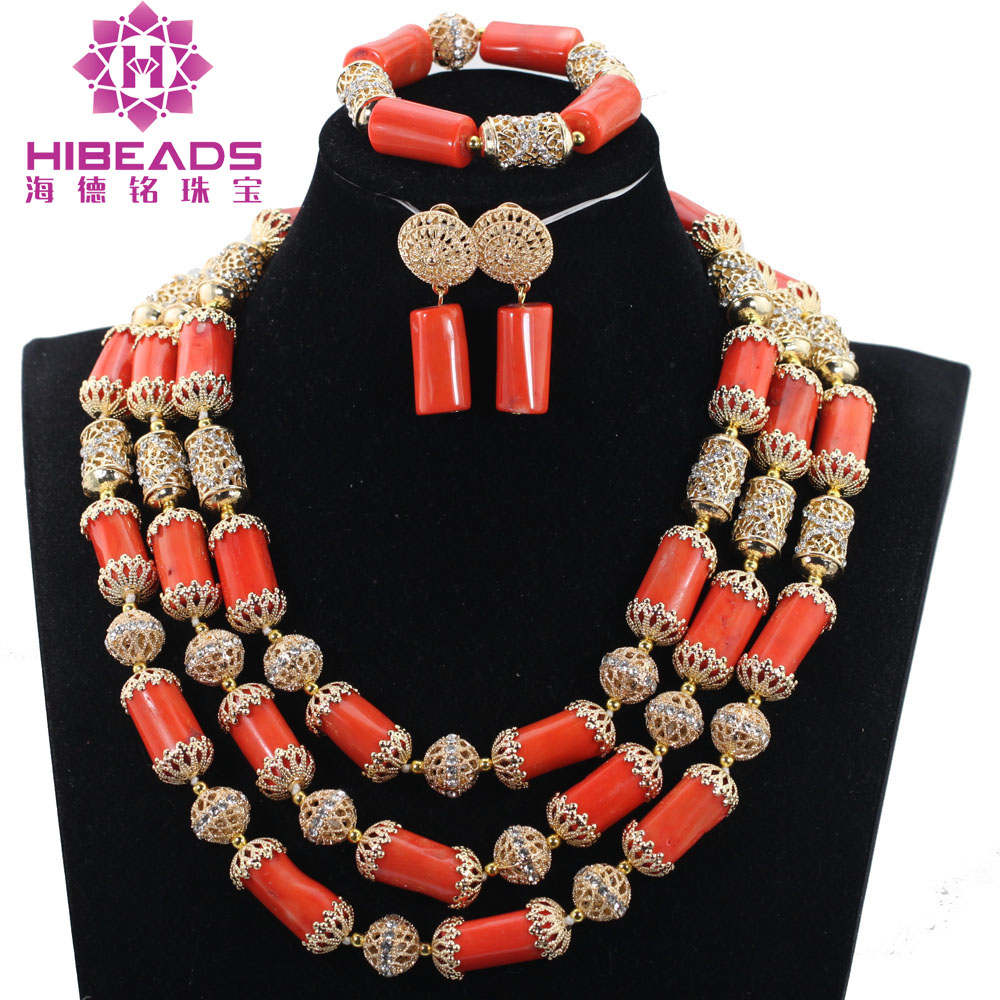 Fashion Nigerian Wedding African Beads Jewellery Set Coral Statement Necklace Set Nigerian Brides QW1126Fashion Nigerian Wedding African Beads Jewellery Set Coral Statement Necklace Set Nigerian Brides QW1126