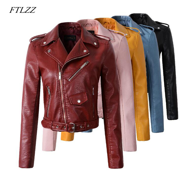 FTLZZ New Autumn Women's Short Washed PU   Leather   Jacket Female Zipper Ladies Basic Street Faux Motorcycle   Leather   Jackets