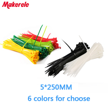 5*250mm nylon cable ties cable wire tie Self-Locking plastic tie zip ties 100PCS/Bag and 6 colors for choose цена и фото