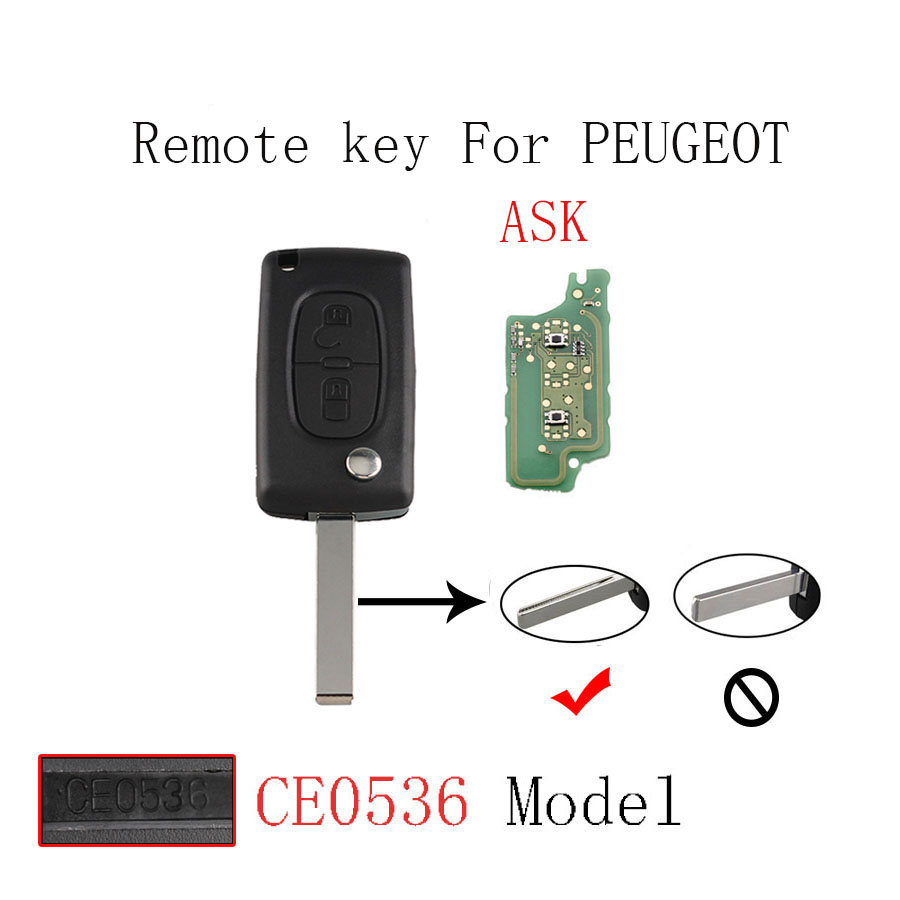 433MHz Remote Control For Peugeot 207 208 307 308 407 408 507 607 Keyless Fob 2 Buttons ID46 PCF7961 chip Blade with Groove