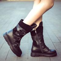 Retro Black Leather Motorcyle Boots For Girl Round Toe Flat Rubber Heel Ankle Boots For Women Three Metal Belt Buckle Shoes