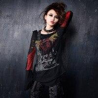 PUNK RAVE Punk Rock Cool Women T shirt Unique Pattern Girls Sexy Long Sleeves O Neck T shirt Gothic Skull Printing Tops Shirt