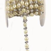 1 Meter Handwerk Perlen Gefälschte Perlen Strass Spitze Band DIY 8 MM Kristall Trimmen Für Hochzeitskleid/Jewelrey 5-102