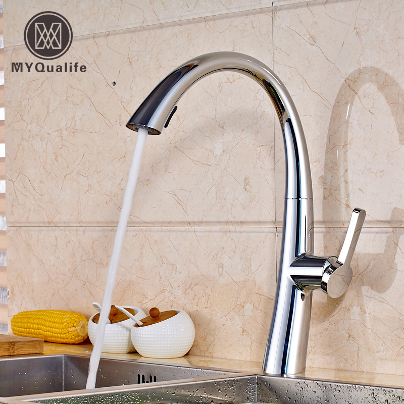 Chrome Finished Single Hole Kitchen Faucet Deck Mounted Single Handle Pull Out Swivel Spout Mixer Tap good quality wholesale and retail chrome finished pull out spring kitchen faucet swivel spout vessel sink mixer tap lk 9907