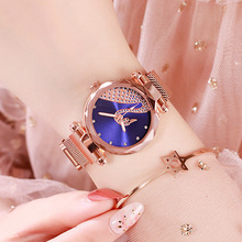 Luxury Bracelet Women Watches Rose Gold Magnetic Blue Watch Fashion Diamond Ladies Crystal Quartz Clock Gift Relogio Feminino weiqin luxury crystal diamond gold bracelet watches women ladies fashion bangle dress watch woman clock hour relogio feminino