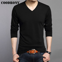 COODRONY Long Sleeve T Shirt Men Bottoming Tshirt Pure Color Casual V-Neck Top T-Shirt Soft Cotton Tee Homme 95003