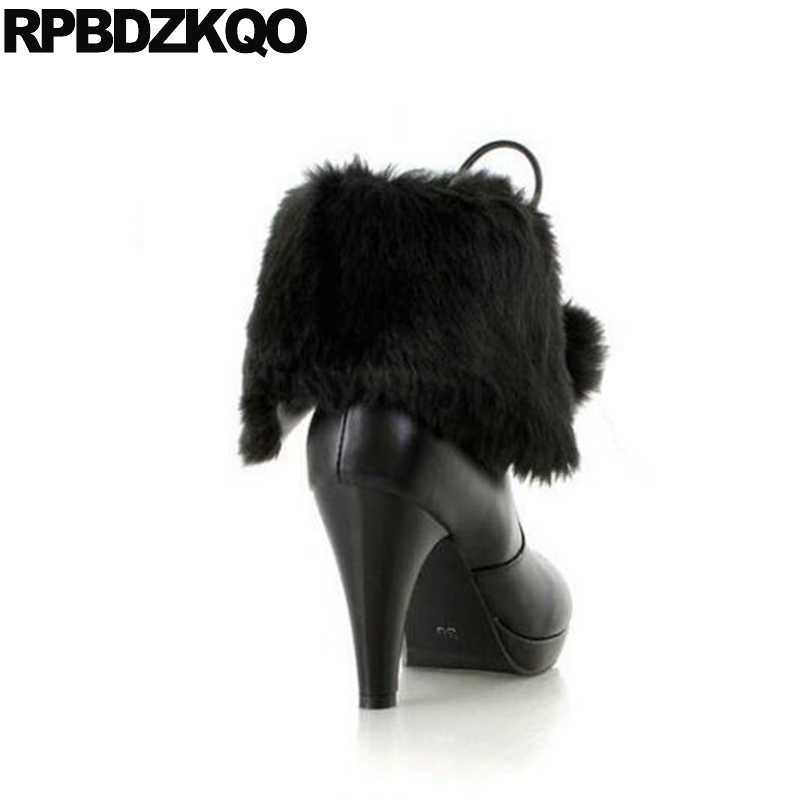 96bdd904779 Boots Round Toe Faux Fur Women Kawaii Booties 10 Big Size Pom Poms Ankle  Stiletto High Heel Pink Lace Up Winter Bow Shoes