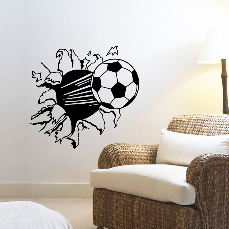 Removable 3D Football Broken Wall Vinyl Wall Stickers Sports Wall Decals  For Kids Bedroom Wall Art Mural Home Decor In Wall Stickers From Home U0026  Garden On ...