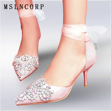 Size 34-45 Women Sandals Pumps Crystal High Heels Shoes Fashion Pointed Toe Wedding Elegant Rhinestone Ankle Silk Satin Shoes цены