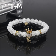 New 2Pc/Sets Natural Pave CZ King Crown Charm Bangle Bracelet 8mm Stone Beads Couple Micro Jewelry Pulseras Mujer for Women