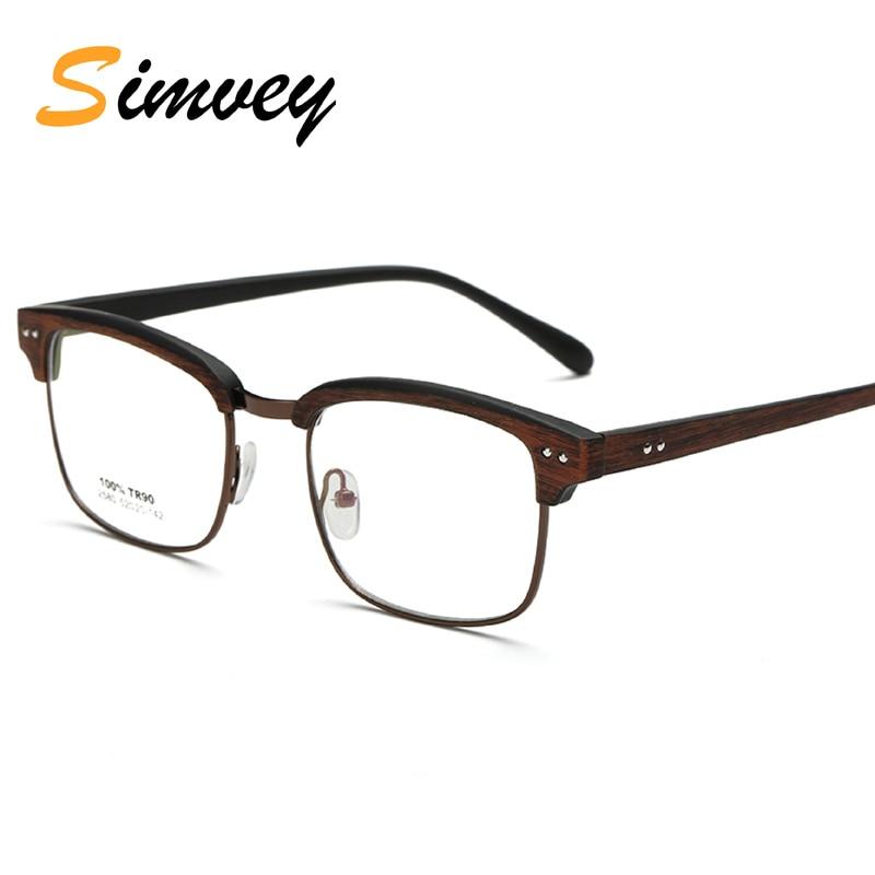 Simvey Fashion Classic Optical Glasses Frame Half Rim Man Womens Korean Retro Blue Light Computer Gaming Glasses