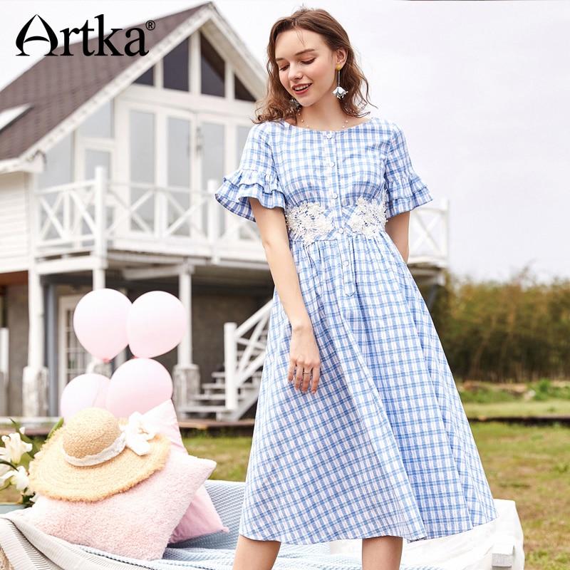 ARTKA nouveau femmes en bois oreille manchette taille haute grande balançoire bouton unique dentelle bleu blanc robe à carreaux LA11081X-in Robes from Mode Femme et Accessoires    1