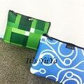 Envío de La Manera Nuevo 2017 Bolsas de Cosméticos Azul Verde con Impresiones Patrón de Maquillaje Bolsa de Almacenamiento de Bolsa de Lavado HL219