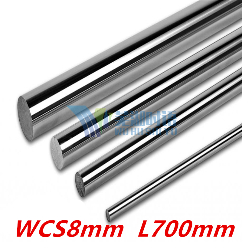 2 pcs 3D printer rod shaft WCS8mm linear shaft L700mm chrome plated linear motion guide rail round rod 8mm 700mm диски helo he844 chrome plated r20