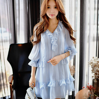 Dabuwawa Sky Blue Ruffled V Neck Two Peices Chiffon Dress