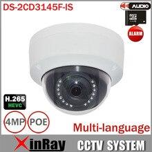4MP IP Купольная Камера DS-2CD3145F-IS Новая Версия от DS-2CD3135F-IS Поддержка Аудио Alarm I/O ИК CCTV Камеры с TF Слот Для карт Памяти