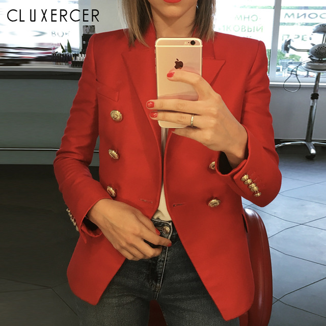 2018 Fashion Ladies Red Jacket Coat Long Sleeve Lapel Workwear Blazer Outwear Slim Button Design formal Suit Blazer Jaqueta