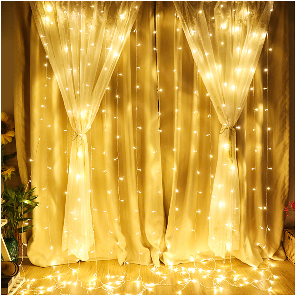 3*3M Curtain Lights LED String Fairy Holiday Wedding Christmas Garden Outdoor Party Decoration 220V EU Plug Twinkle Light JQ