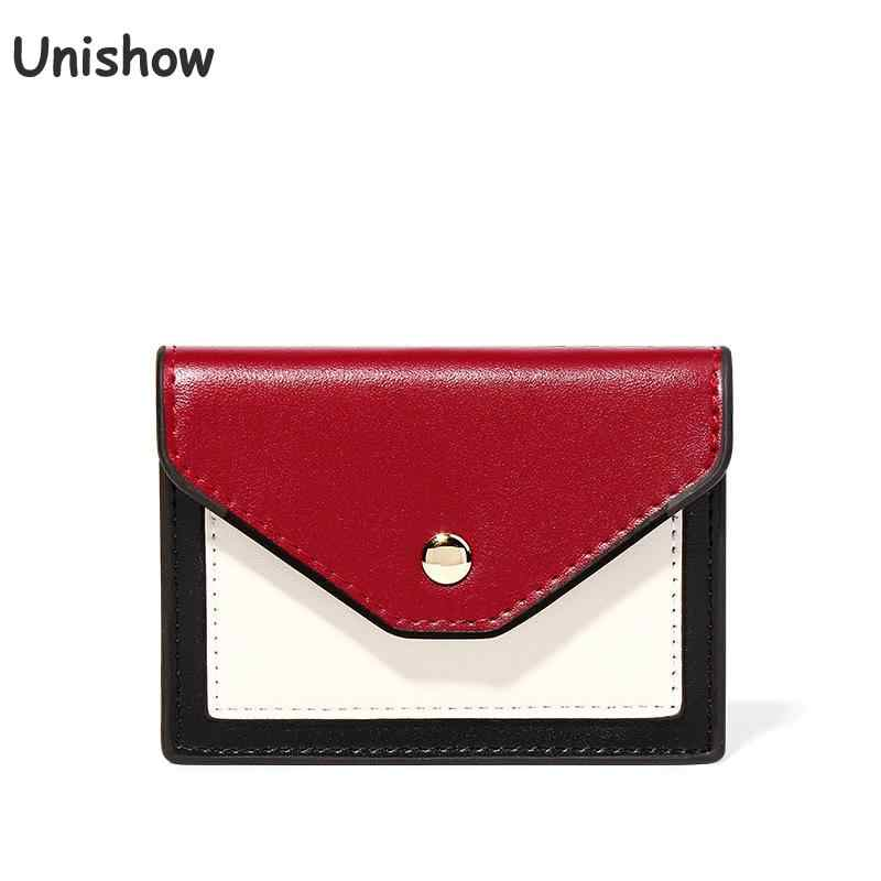 Unishow Mini Women Wallet Panelled Hasp Pu Leather Wallet Female Brand Designer Short Women Purse Small Girl Wallet Card Holder